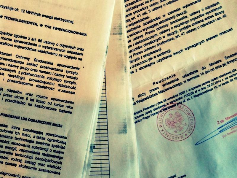 Informacje prawne, pozwolenia firmy na działalność, gospodarowanie odpadami